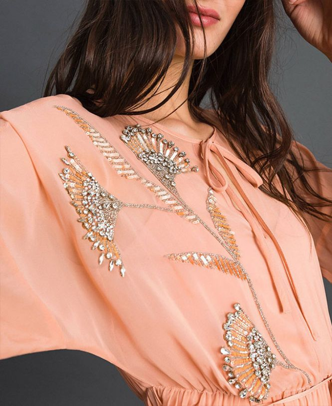 Twinset košulja kajsija boje sa cirkonima